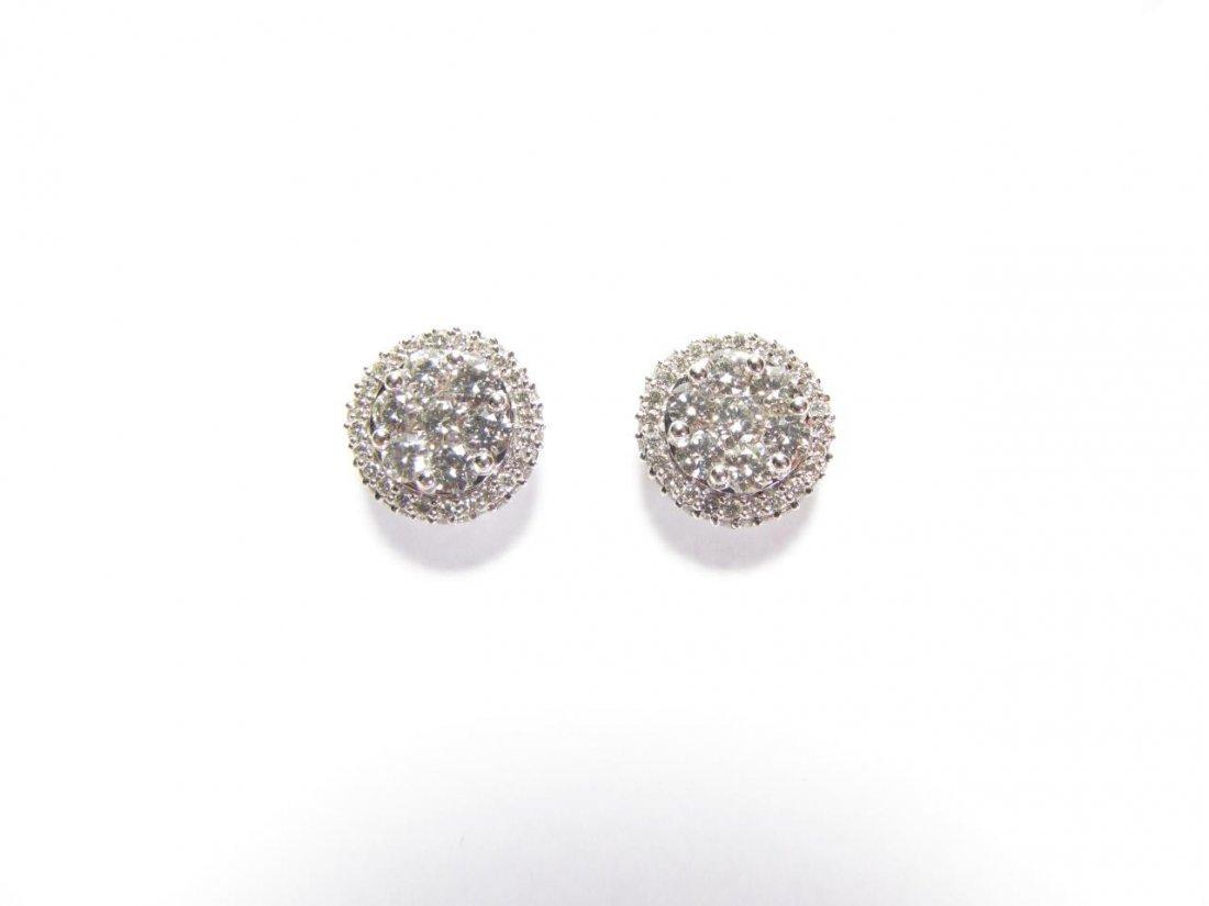 14K White Gold Lady's Diamond Cluster Earrings