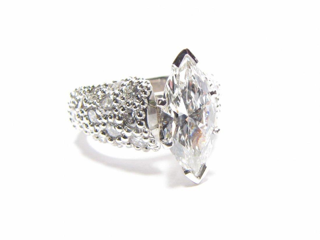 Platinum 2CT Marquis Diamond Ring