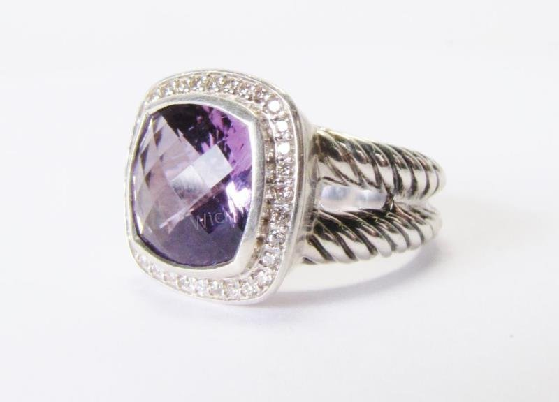 David Yurman Amethyst and Diamond Albion Ring
