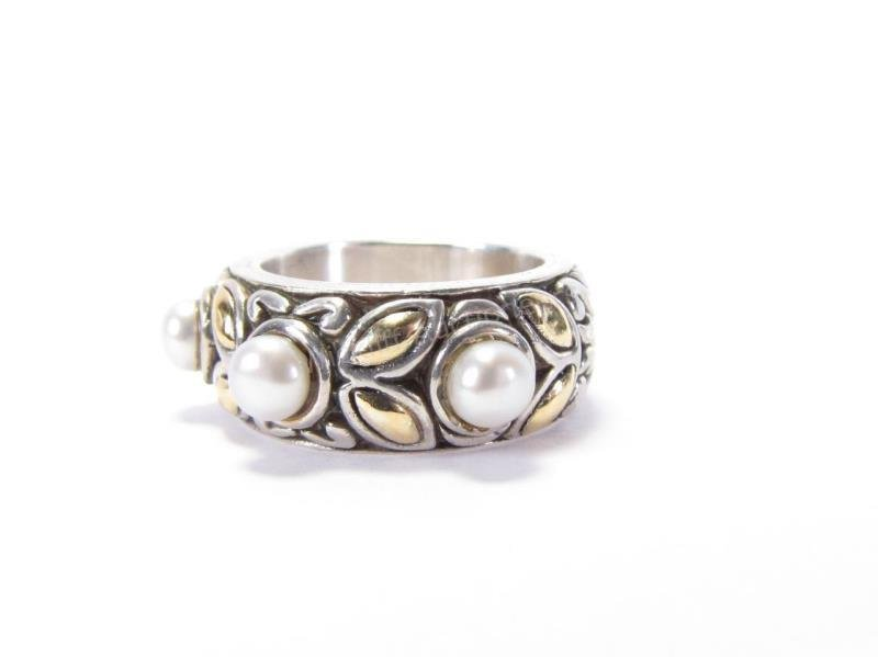 John Hardy Sterling, 18K Three Pearl Ring