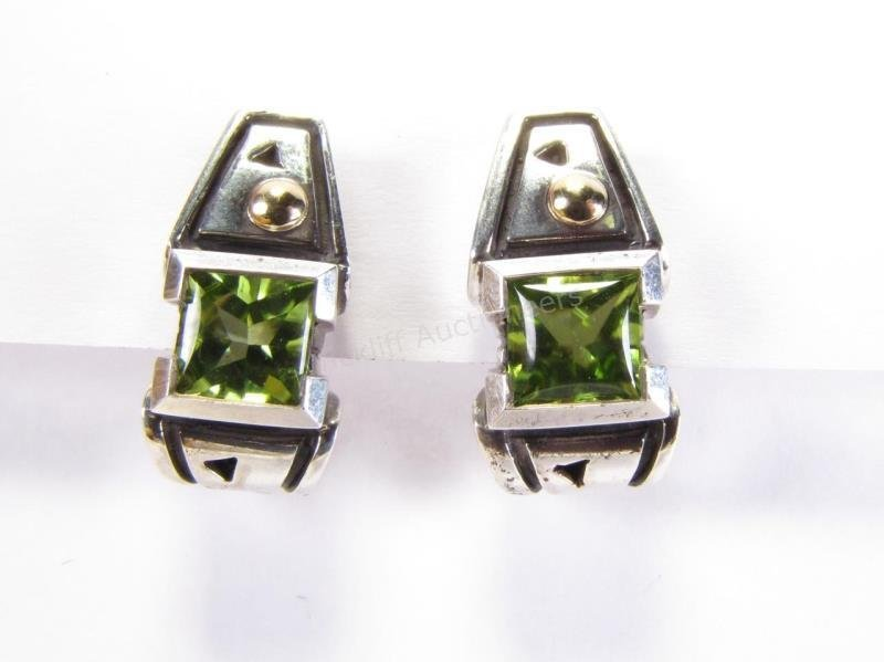 John Atencio Sterling and 18K Peridot Earrings