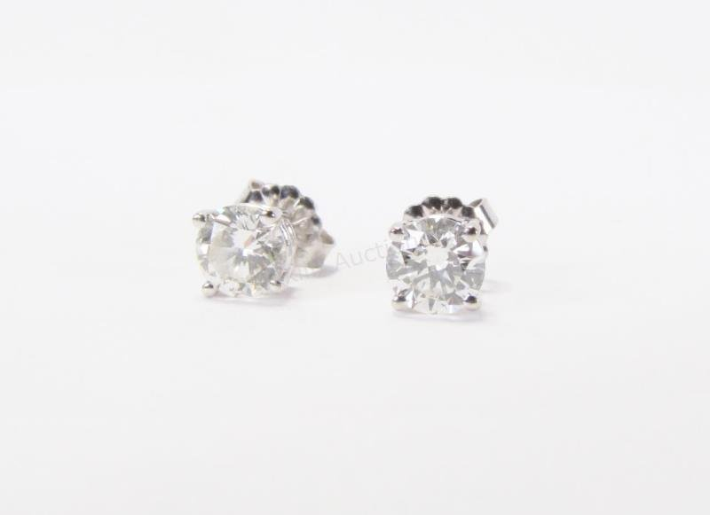 14K White Gold Diamond Stud Earrings, 1+CT