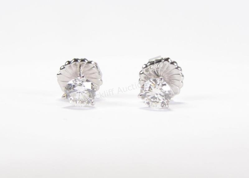 18K White Gold Martini Style Diamond Studs