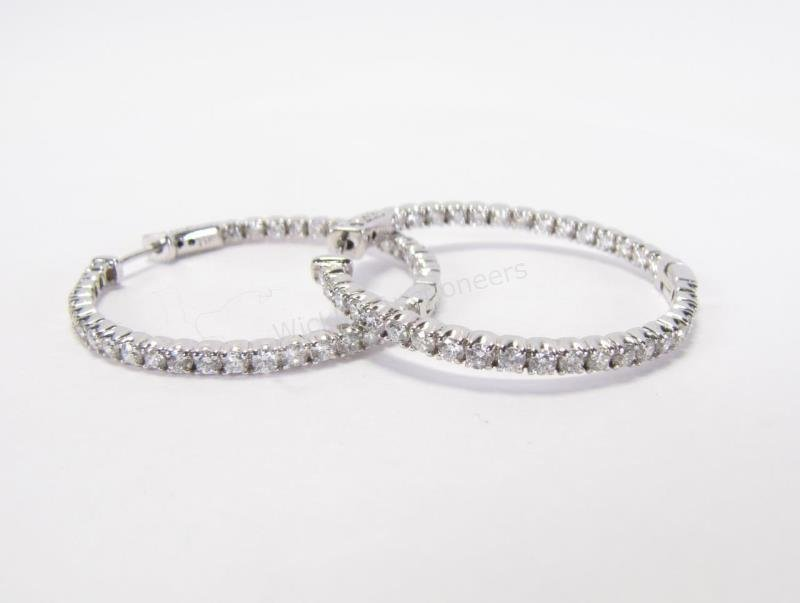 14K White Gold Inside/Out Hoop Earrings
