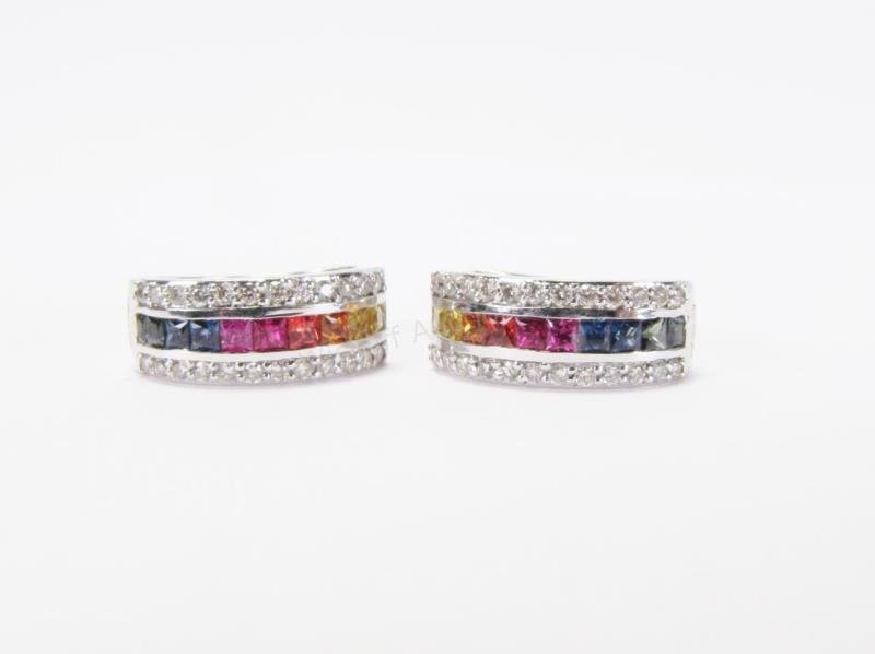 18K Multi-Color Sapphire Earrings