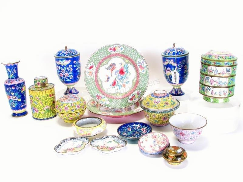 Large Group of Antique Chinese Enamelware