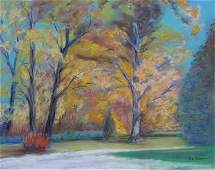 Ted Englehart 16x20 Mixed Media Autumn Landscape