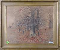 George H Baker 17x21 Mixed Media Autumn Landscape