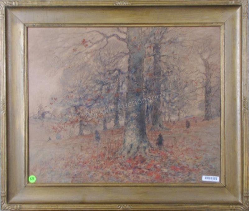 George H Baker 17x21 Mixed Media Autumn Landscape