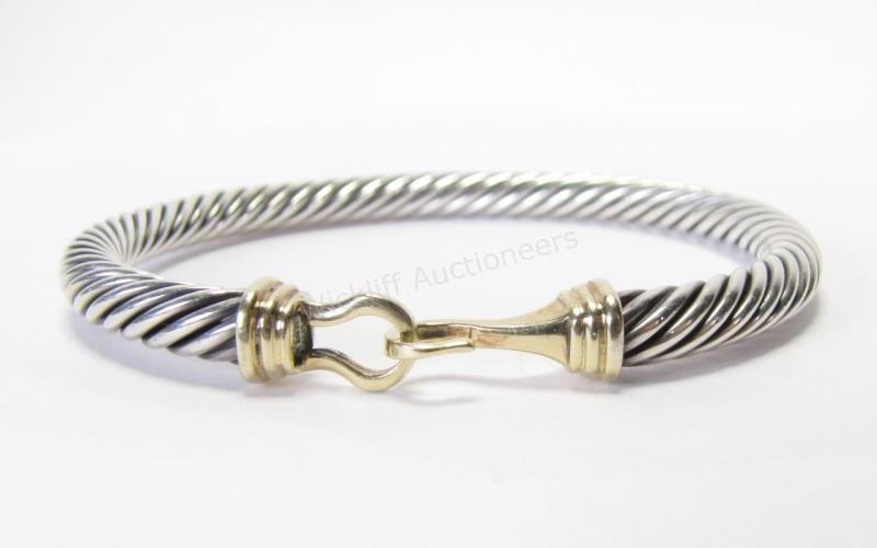 Yurman Sterling and 14K Cable Buckle Bracelet
