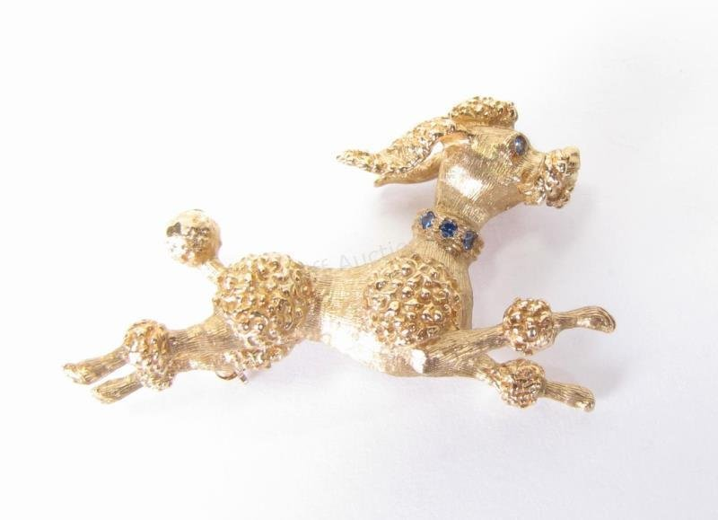 14K Yellow Gold Sapphire Poodle Brooch