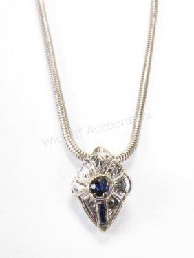 14k Wg Art Deco Sapphire Pendant, Sterling Chain