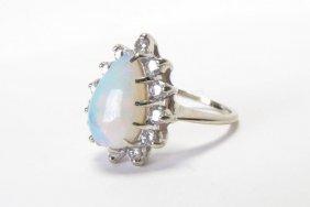 14k Wg Opal And Diamond Ring
