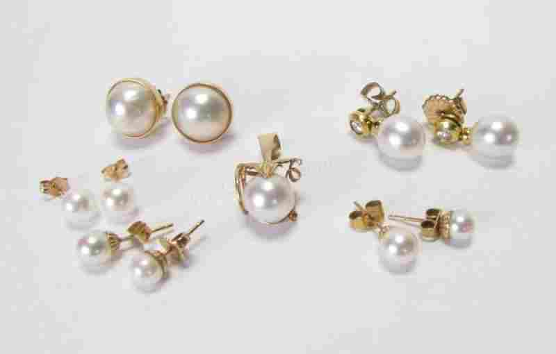 Group of Pearl Earrings, Pendant, 14K YG