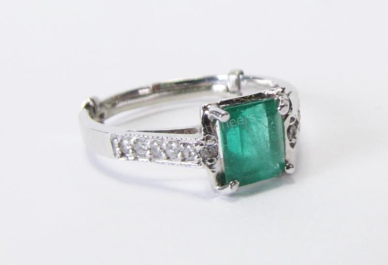 14K WG Lady's Emerald and Diamond Ring