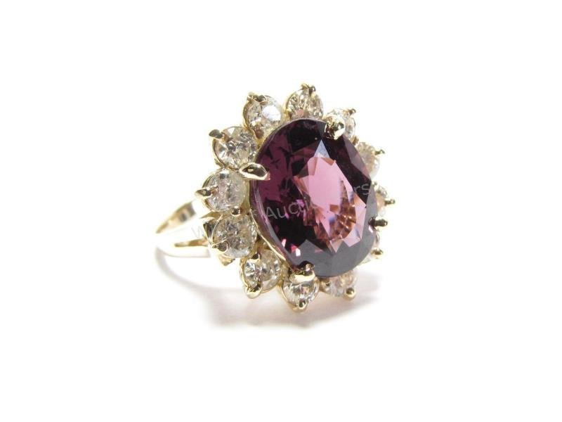 14K Yellow Gold Purple Spinel and Diamond Ring