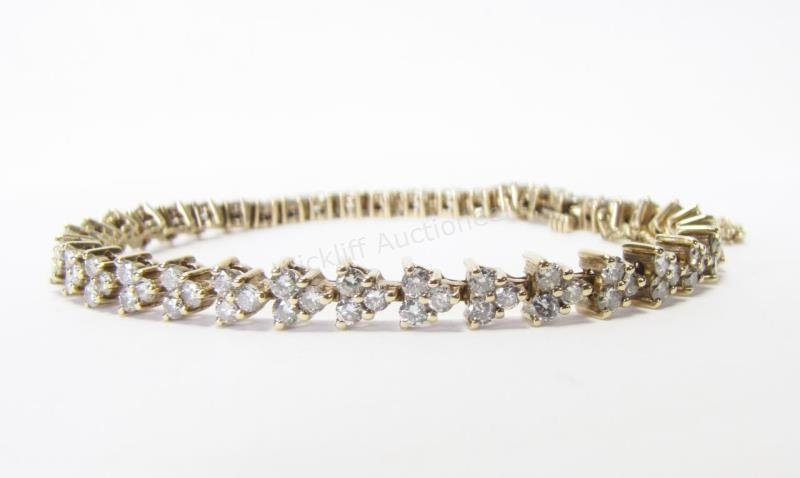 14K Yellow Gold 3ct+ Diamond Line Bracelet