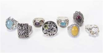 Group of Sterling, Fashion Gemstone Rings