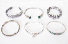 Group Of Sterling Silver Bangle Bracelets
