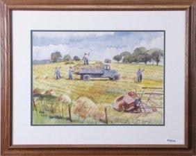 Max Arthur Cohn 14x20 Wc Harvesting Hay