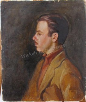 Harry A. Davis 24x20 O/b Self Portrait