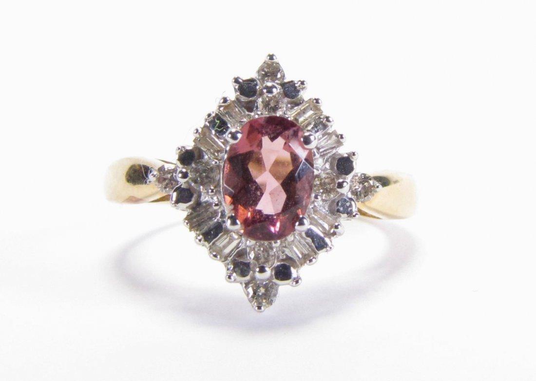 14K Gold Pink Tourmaline, Diamond Ring