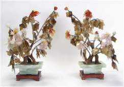 Pair of Chinese Carved Stone Floral Arrangements