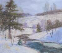 George H Baker 11x13.5 pastel Winter Landscape