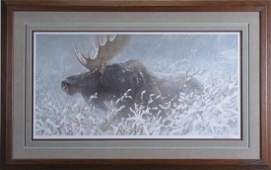 Robert Bateman LE Print Winter Run  Bull Moose