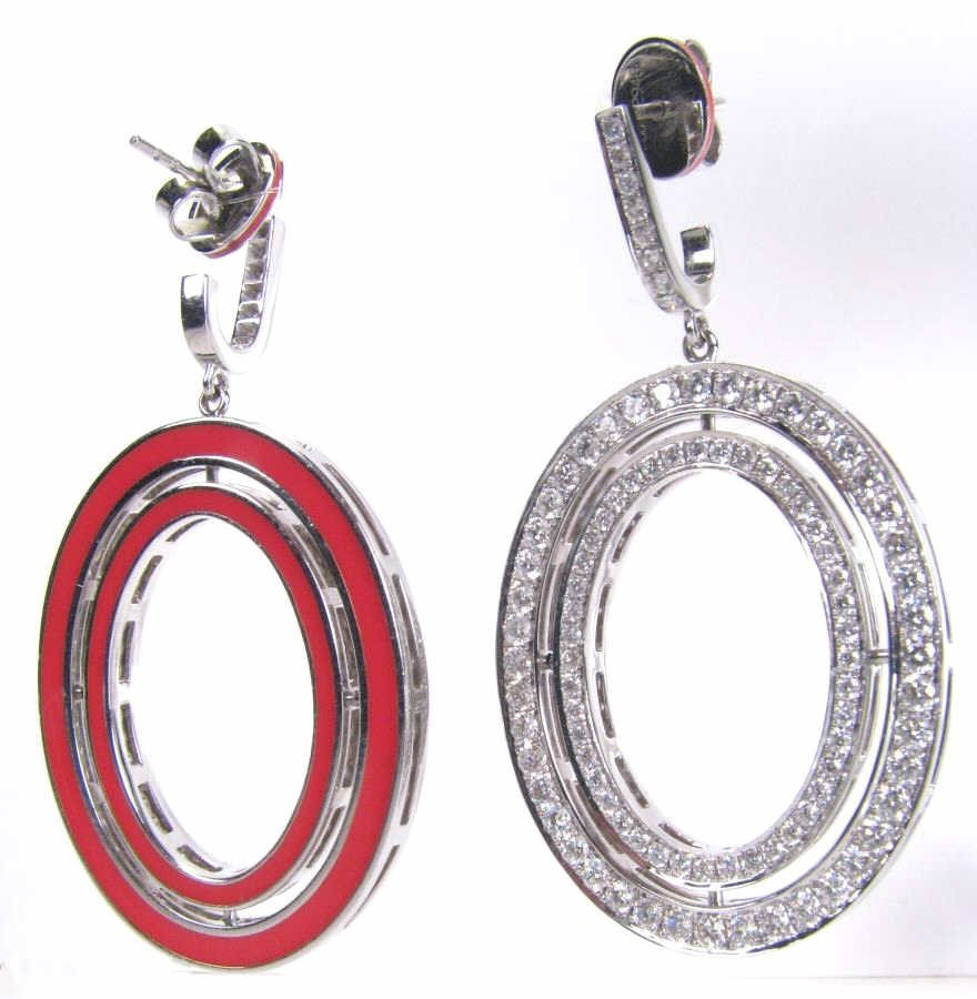 Ivanka Trump 18K White Gold Oval Diamond Earrings