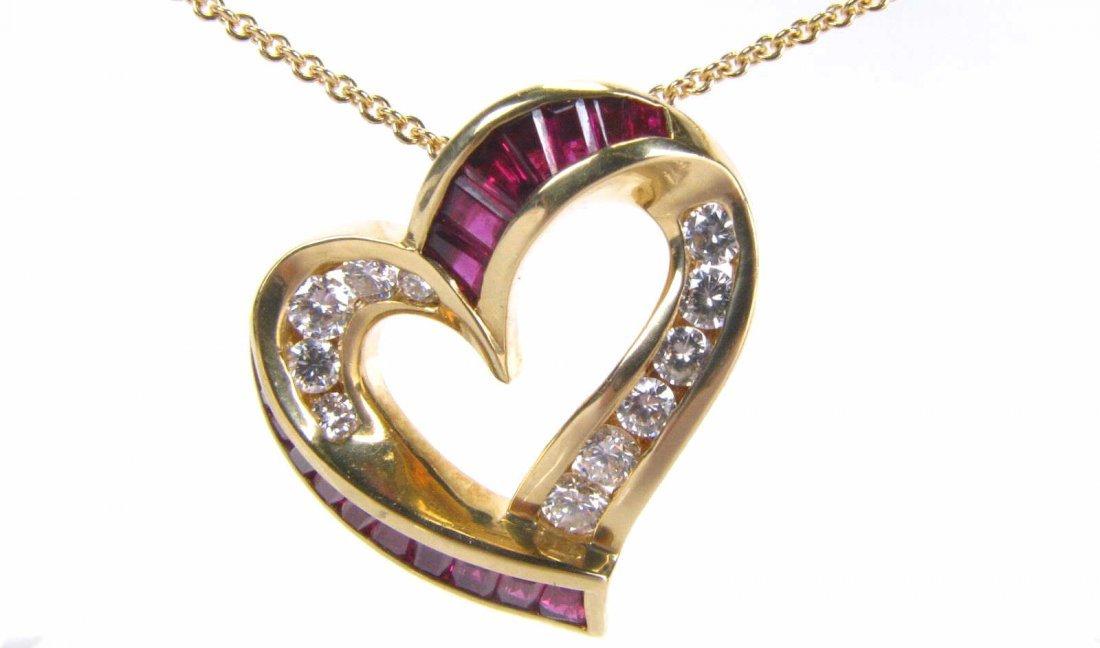 18K YG Krypell Ruby & Diamond Heart Pendant, Chain