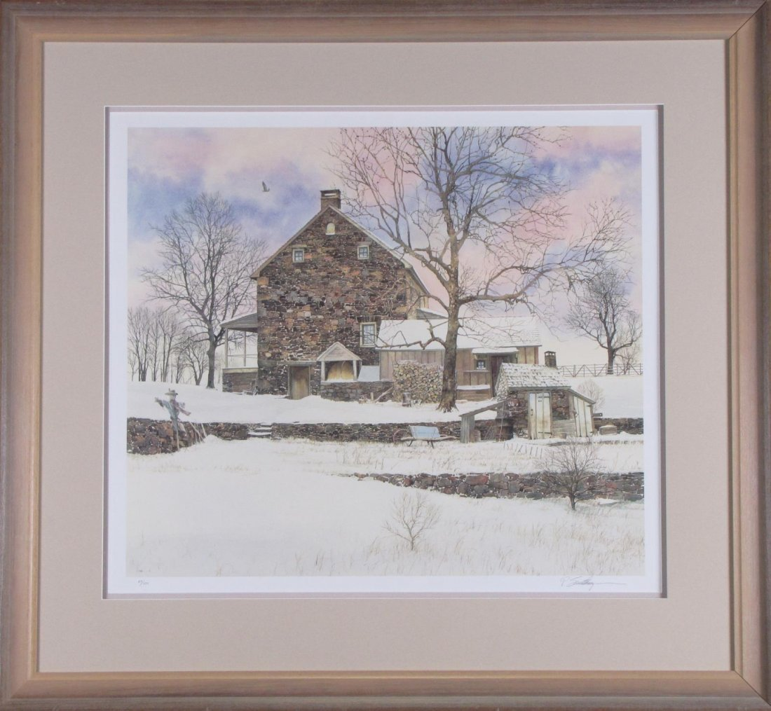 Peter Sculthorpe Signed LE Print, Snowy Cottage