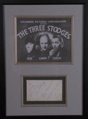 The Three Stooges Vintage Image, Signature Card