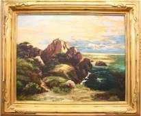 "Franz Arthur Bischoff 24x30 O/C ""Twilight Seascape"
