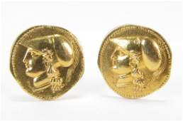 Pair Antique 18K Yellow Gold Coin Style Cufflinks