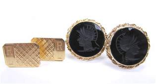 Two Pair of 14K Yellow Gold Cuff Links
