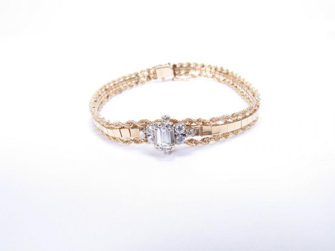 Vintage 14K WG / YG Diamond Bracelet