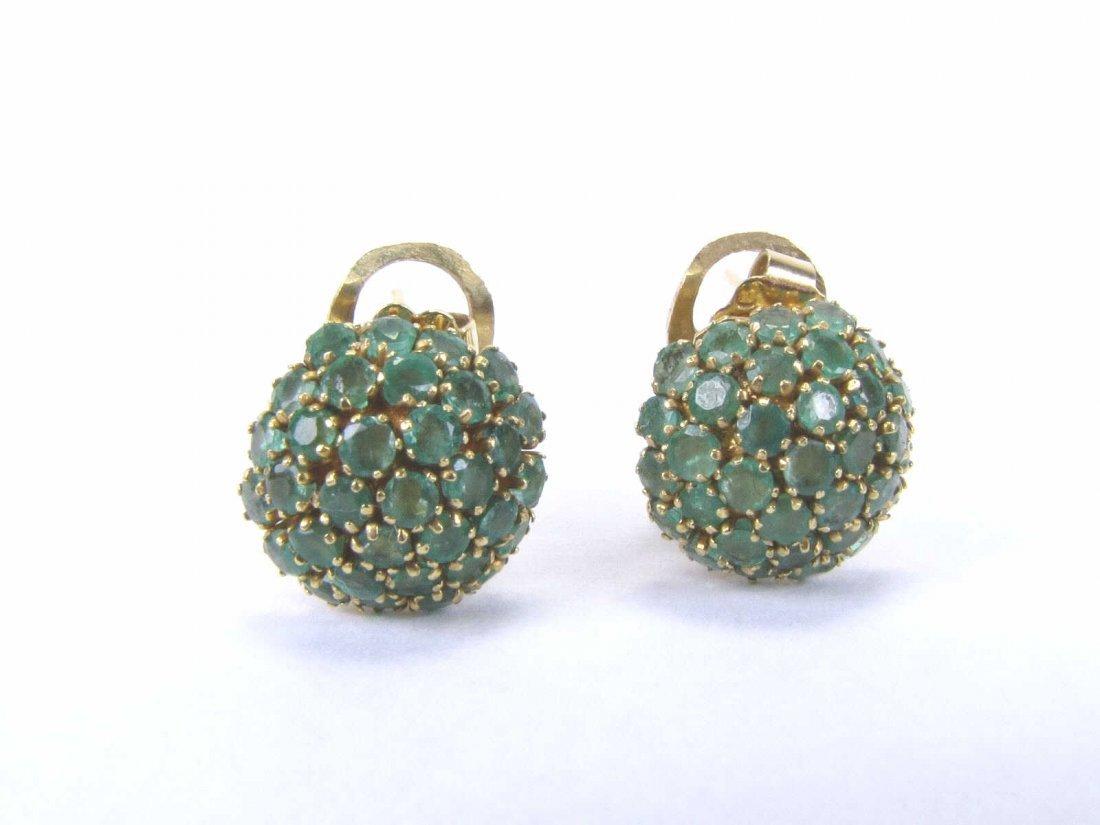 18K Yellow Gold Emerald Earrings