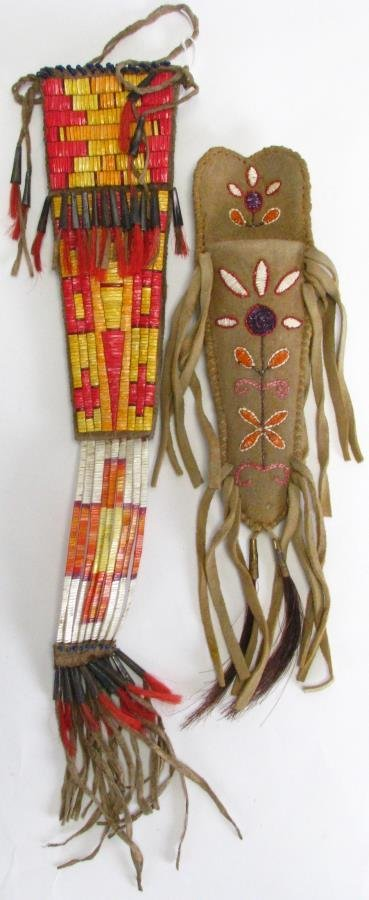 Two Native American Quill Work Sheaths