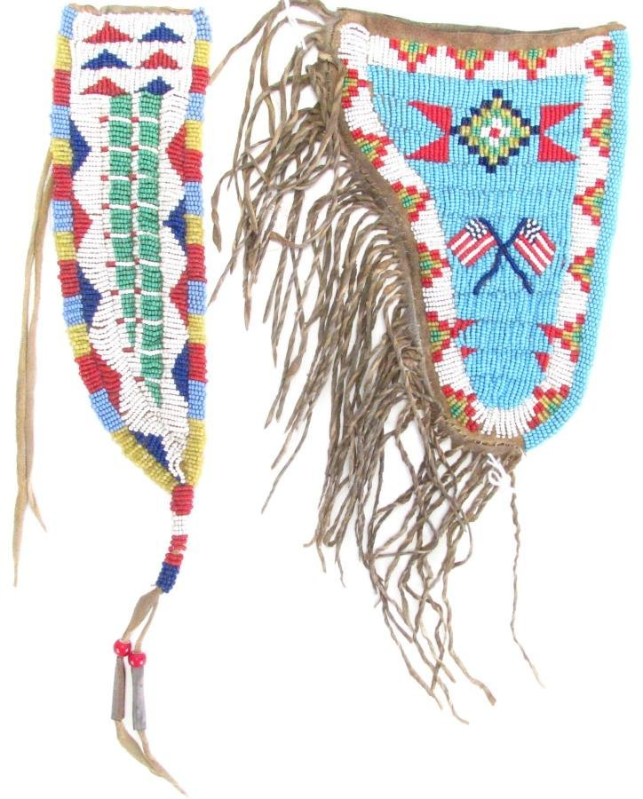 Sioux Indian Beaded Gun Holster and Sheath