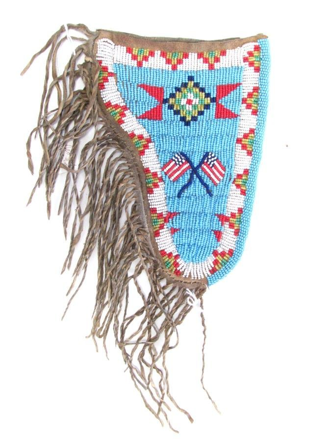 Sioux Indian Beaded Gun Holster and Sheath - 2