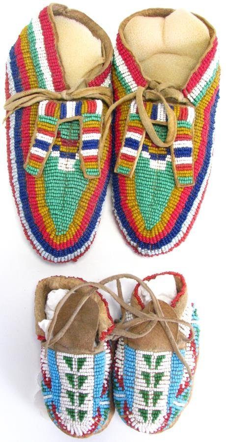 Two Pair of Sioux Indian Beaded Moccasins