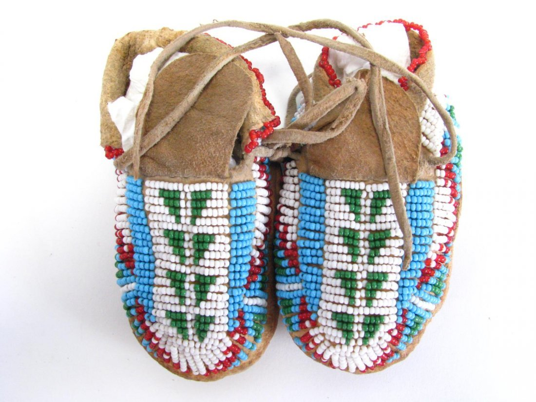 Two Pair of Sioux Indian Beaded Moccasins - 4