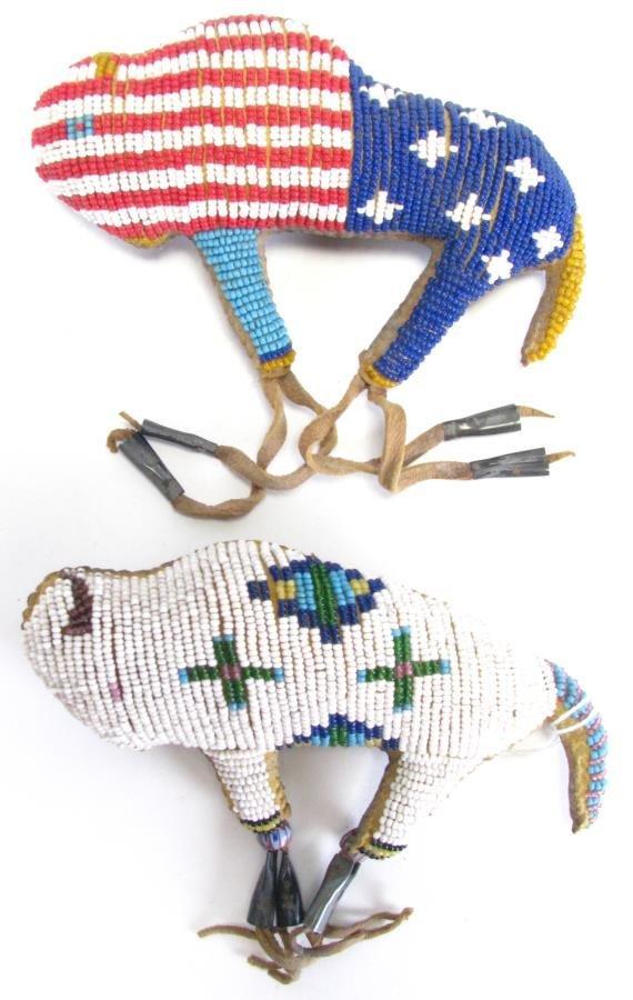 Two Plains Indian Beaded Buffalo Fetishes