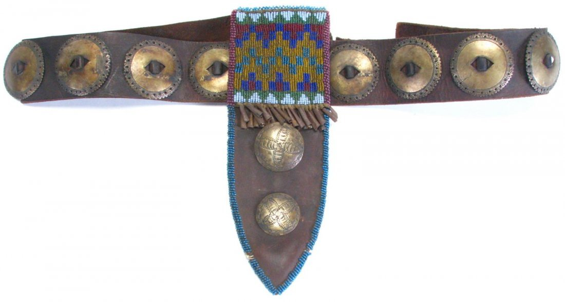 Antique Ute Tribe Ornate Belt and Sheath