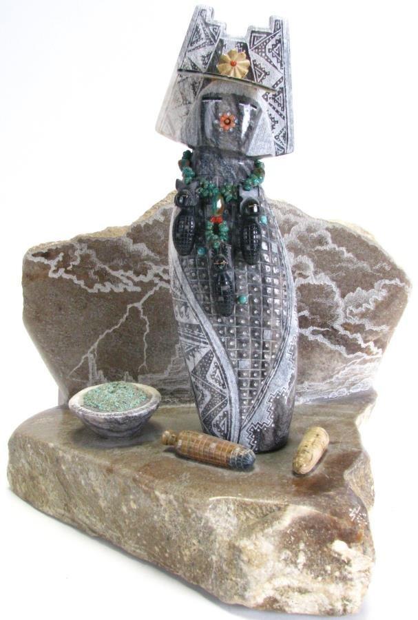 Native American Corn Maiden Stone Sculpture
