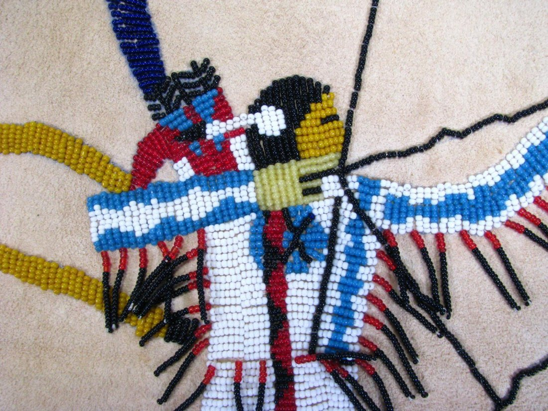 Native American Beaded Deerskin Wall Hanging - 5