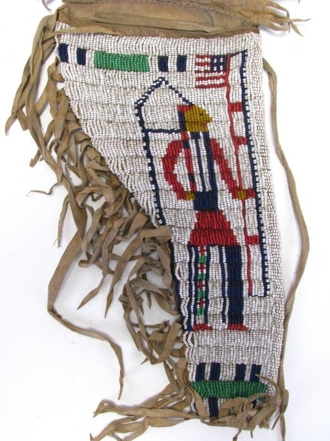 Sioux Indian Pictorial Beaded Gun Holster - 2