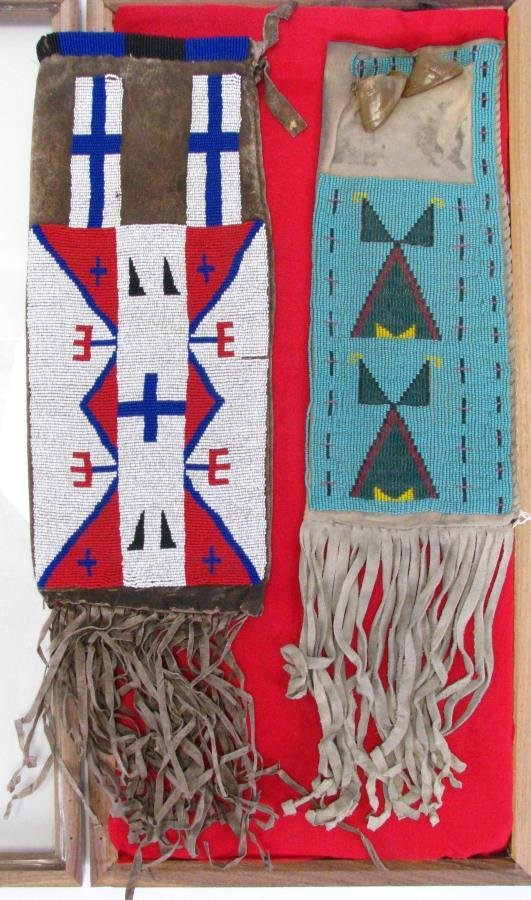 Two Sioux Indian Beaded Pipe Bags
