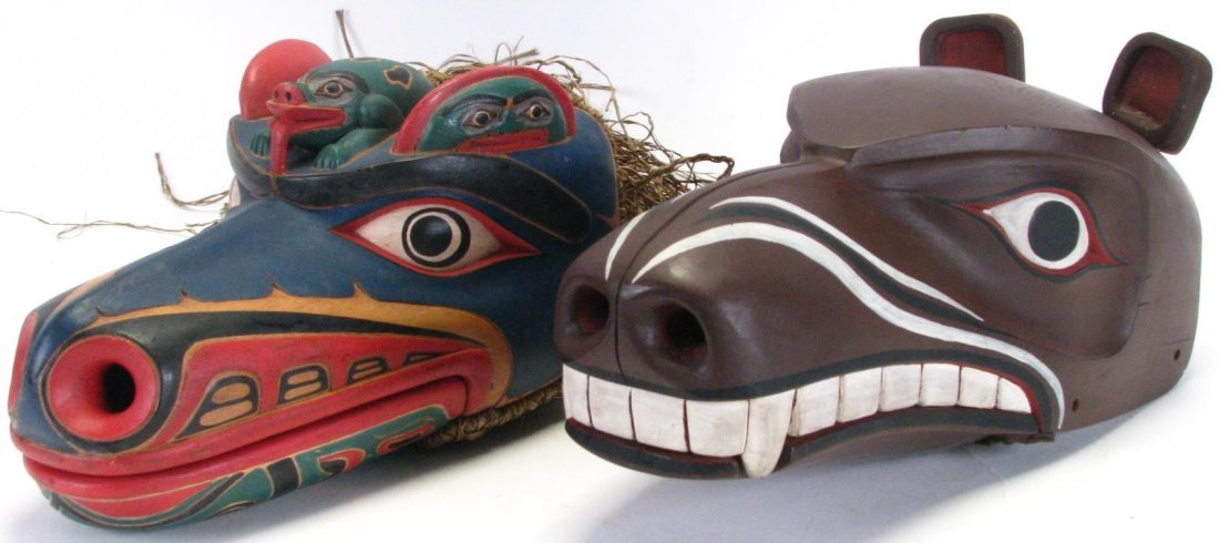 Two Pacific Northwest Raven Clacker Masks
